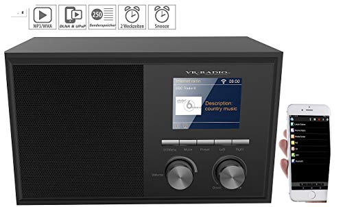 VR-Radio WLAN Radio: WLAN-Internetradio mit 2 Weckzeiten, Farbdisplay, Holzgehäuse, 6 Watt (WLAN Internetradios)