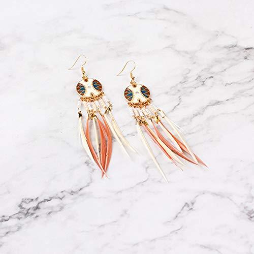 WinBuy Earrings for Women Stylish Fashion Jewelry 1 Pair Women Girls Ladies Feather Tassel Earrings Pearl Beads Bohemian Dangle Lady Jewelry