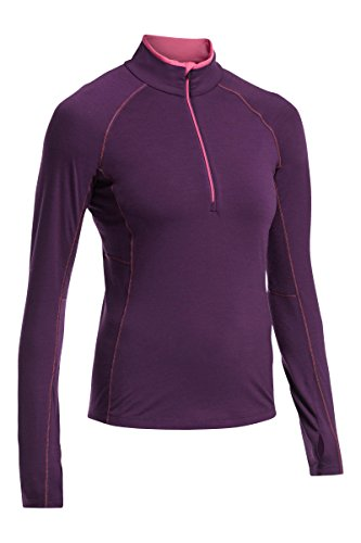 Icebreaker Women's Zone Long Sleeve Half Zip Trikot Violett - Vino/Shocking