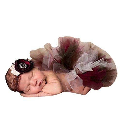 Minshao 0 - 4 Monate Baby Mädchen Prinzessin Tutu Rock + Stirnband Set Baby Fotografie Prop Kleid (Mehrfarbig-A) (Stirnband-set Baby-bögen)