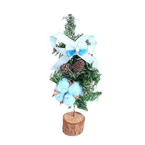 BESTOYARD Mini Weihnachtsbaum mit Schnee Künstlicher Tannenbaum Christbaum mit Holz Ständer Xmas Tischdeko Weihnachtsdeko (blau)