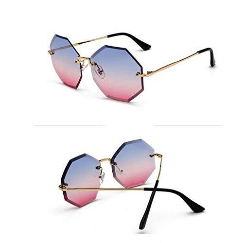 SYQA Sechseckige randlose Sonnenbrille Die Sonnenbrille der Frauen ist modern,C1