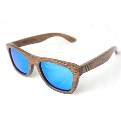 WOOD FELLAS,Legno Fellas Jalo marrone, blu, occhiali a specchio, legno, occhiali da sole in legno, occhiali da sole, occhiali, marrone, blu