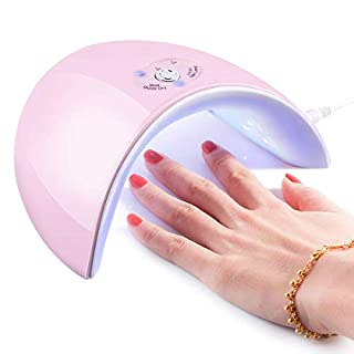 36W UV Light Nail Lamp, Portable 12 LED Nail Curing Lamp Nail Dryer with LED Display, Nail Art Tools with 60s/120s Timer Setting for Manicure Gel Nail Polish Fingernail & Toenail Gel (Pink)