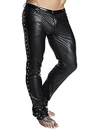 Schwarze lange Herren wetlook Hose dehnbar Männer Dessous Pants mit Taschen und Verzierung