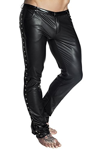 Schwarze lange Herren wetlook Hose dehnbar Männer Dessous Pants mit Taschen und Verzierung 5XL