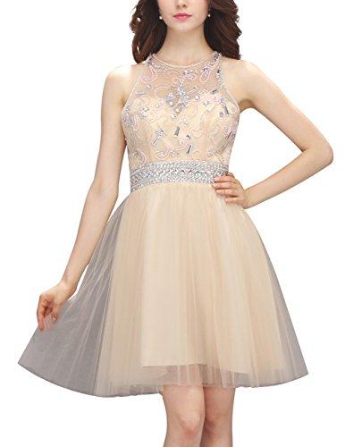 Dresstells Kurz Tüll Cocktail-Kleider Party Kleider mit Perlen Weiß