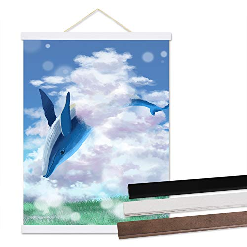 CUFUN Art Leichte hölzerne Poster Frame magnetische Poster Kleiderbügel für 24x30, 24x36, Bilder Poster Scratch Maps Diamant Malerei Kits weiß 24 Zoll (60,96 cm) -