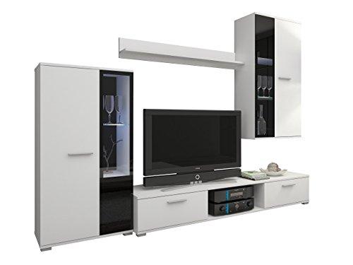 TV Wohnwand modern weiß - mit blauer LED Beleuchtung