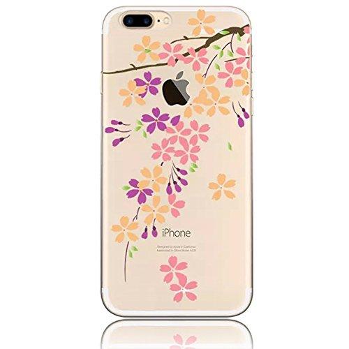 Sunroyal® Creative 3D Custodia per Apple iphone 7 plus 5.5 Pollici, Trasparente Chiaro Case Cover (Viola Nuovo Pennino)
