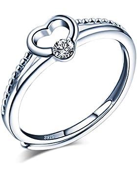 Yumilok 925 Sterling Silber Zirkonia Herz Offener Ring Trauringe Verlobungsring Solitärring für Damen Mädchen,...