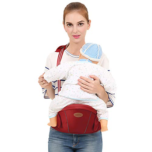 SONARIN Multifunctional Hipseat Baby Carrier,Free Size,Toddler Hip Seat Carrier,Front Carrier Belt,4 Carrying Positions,Adapted to Your Child's Growing,Ideal Gift(Red) SONARIN