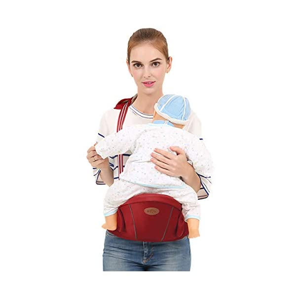 SONARIN Multifunctional Hipseat Baby Carrier,Free Size,Toddler Hip Seat Carrier,Front Carrier Belt,4 Carrying Positions,Adapted to Your Child's Growing,Ideal Gift(Red) SONARIN Applicable age and Weight:0-36 months of baby, the maximum load: 20KG, and adjustable the waist size can be up to 45.3 inches (about 115cm). Material:designers carefully selected comfortable and cool polyester fabric, light, tear-resistant, breathable,Inner pad : EPP Foam,safe and no deformation. Description:Sturdy buckle and inner soft padded ensuring baby safety and parent's comfort.It takes 1 second to put on.Nothing is more convenient.Side with small pockets, in order to store handkerchiefs, wallets and mobile phones and other small items. 3