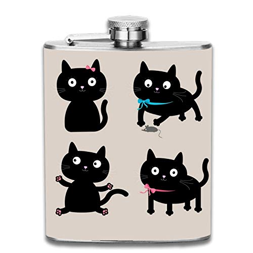 Cute Cartoon Black 7oz Liquor Whiskey Flask and Premium Box - Stainless Steel and Leak Proof