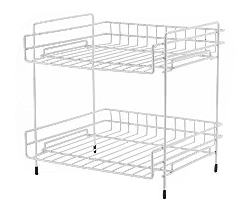 NEUN WELTEN Breites Küche 2 Ablagen Zusatzregal mit großem Stauraum 25.5L x 28B x 29H cm (Weiß)