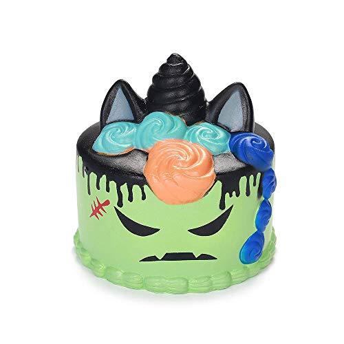 loween Einhorn Torte Allerheiligen Kuchen Steigend Quetschen Spielzeug Tiere Slow Rising Antistress Squishies Spielzeug Geschenk für Kinder Erwachsene Grün(11*11*11cm,1 Stück) ()