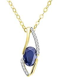 Miore Damen-Anhänger Halskette 18 Karat (750) Gelbgold Saphir mit Brillanten 45cm blau Ovalschliff Diamant - MH8019N