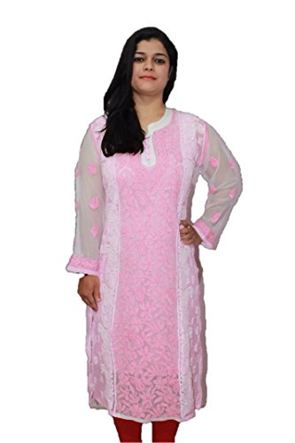 Look Gorgeous with our Famous Lucknow Chikankari Kurta Kurti Fine Georgette Embroidery.Size-Extra Large.(f-ct-ggt-we-pk-44-01)