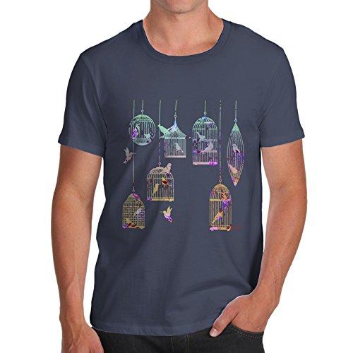 Herren Bird Cages T-Shirt Marineblau