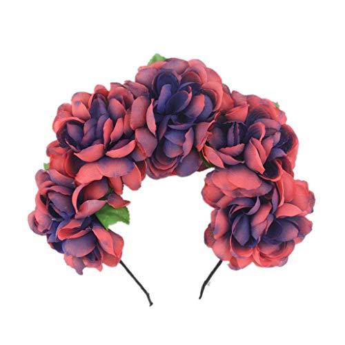 Alwayswin Boho Haarkranz Einstellbare Blume Stirnband Blumengirlande Krone Kopfschmuck Damen Mädchen Fashion Stirnband Halloween Kranz Kopfschmuck Festliche Party Kopfbedeckung -