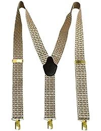 Navaksha Golden & Brown Squares Y-Back Men's Suspender