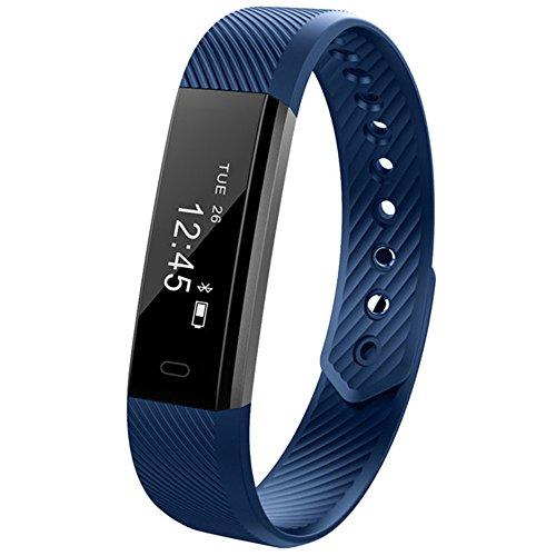 ID115 Braccialetto di vibrazione sveglia della fascia del monitor di attività del contatore di attività del braccialetto astuto di impulso per il telefono di androide di iphone IOS/Android (Blu)