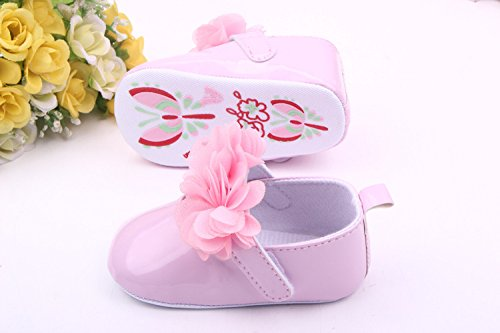 Bigood Chaussures Enfant Bébé PU Fleur Princesse en Printemps Automne Rose