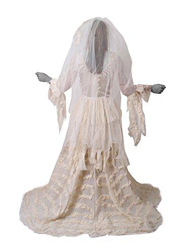Imagen de disfraz de novia fantasma, vestido efecto rasgado con velo, vestido de boda, color blanco alternativa