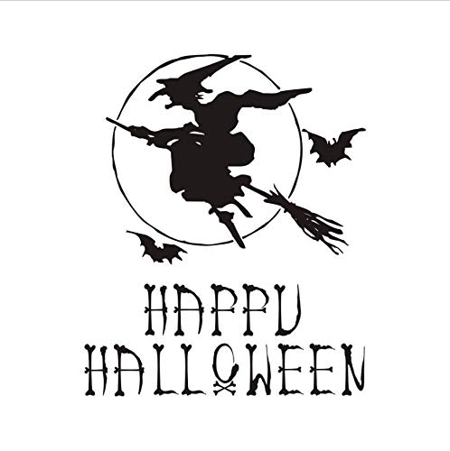 LONGTENGHEIHA Hexe Besen Fledermäuse Horror Wandaufkleber Für Kinderzimmer Happy Halloween Kinder Vinyl Wandtattoo Kindergarten Schlafzimmer Dekor Poster Wandbild