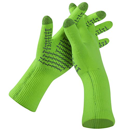 RANDY SUN Touchscreen-Handschuhe, Winddicht, wasserfest, Sicherheitswiderstand, Fahrrad-/Arbeits-/Bergsteiger-/Wander-/Ski-Handschuhe, Damen, 1 Pair-Fluorescent Green-Touch Screen, Medium Green Touch Screen