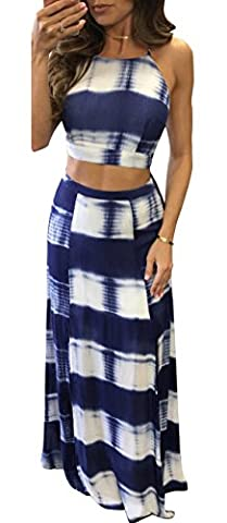Walant Women's Sexy 2 Piece Halter Backless Split Long Beach Dresses Maxi Skirt