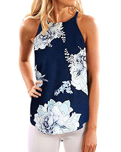 YOINS Oberteile Damen Tops Sommer Kleidung Ärmellose Elegant Blumenmuster Strandmode Floral-02 EU40-42(M) -
