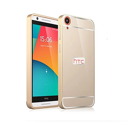 OnlineeMarket Luxury Aluminum Frame+Acrylic Back Cover Case Bumper For HTC DESIRE 820 - GOLD