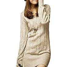 Vestido De Punto Mujer Elegantes Vintage Otoño Invierno Jersey Largo Manga  Larga Mode De Marca V 373e1544d73b