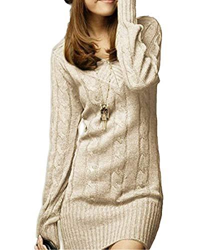 best website 258e6 cd0bd Vestiti In Maglia Donna Eleganti Vintage Autunno Invernali Abbigliamento  Maglioni Lunghi Manica Lunga Tempo Libero Slim Fit V Neck Imbottita Hot ...