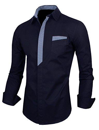 HRYfashion -  Camicia da cerimonia  -  Vestito modellante  - Basic - Classico  - Maniche lunghe  - Uomo blu navy