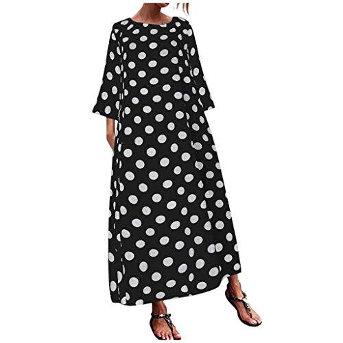 88 Damen Spieler (Damen kleid,Jessboy Art- und Weisefrauen beiläufige Oansatz Punkte lange Hülsentaschen lösen langes Maxi Kleid)