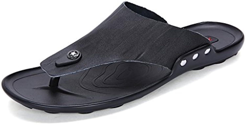 Herren Hausschuhe Sommer Trend rutschfeste Strand Schuhe Casual Sandalen Leder ( Farbe : Schwarz   größe : US:
