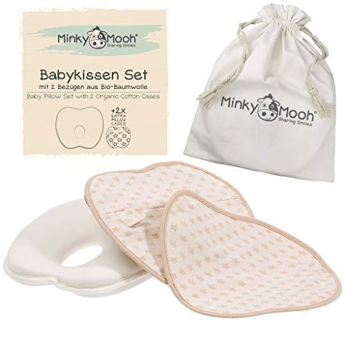 Babykissen gegen Plattkopf mit 2 BIO-Baumwolle Bezüge | Baby Kissen/Kopfkissen zur Vorbeugung von Kopfverformung | in BIO Baumwoll-Tasche | GOTS & Oeko-Tex® zertifiziert