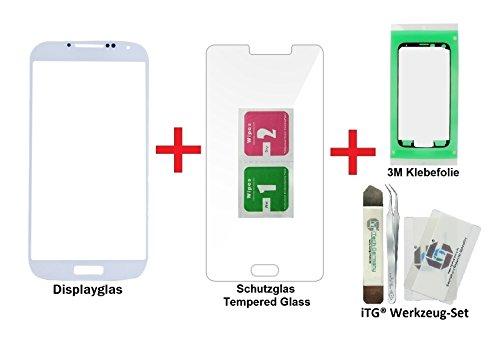 iTG® PREMIUM Juego de reparación de cristal de pantalla para Samsung Galaxy S4 Blanco - Panel táctil frontal oleofóbico para i9500 i9505 i9515 LTE + Protector en vidrio templado, 3M Adhesivo precortado y iTG® Juego de herramientas