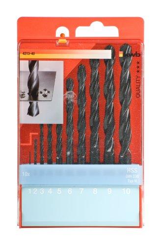 kwb HSS Metallbohrersatz 10-teilig 421340 (DIN 338, Ø 1-10 mm)