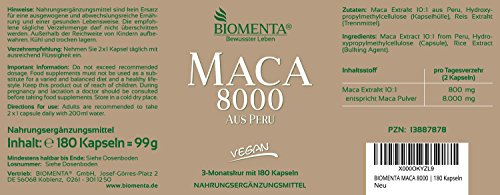 BIOMENTA MACA HOCHDOSIERT 8000 aus PERU | AKTIONSPREIS!!! | 180 Maca Kapseln | 3 Monatskur | VEGAN | Pures Maca Extrakt aus Maca Pulver | Für vitale Frauen & Männer