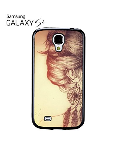 Fashion Hair Earing Women Girl Woman Painting Mobile Phone Case Samsung Galaxy S4 White Blanc