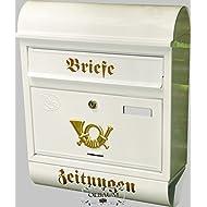 Wandbriefkasten,NEU Toller Briefkasten, Premium-Qualität aus Stahl, verzinkt, pulverbeschichtet R groß in edelweiss weiß schneeweiss Zeitungen Post antik Mailbox Schild