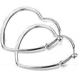Flongo 55mm Pendientes de mujer de moda de estilo europeo de acero en forma de corazón traspasado