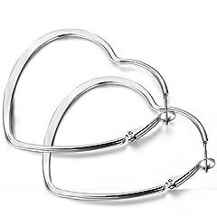 Idea Regalo - Flongo 46mm orecchini donna fashion european stile trafitto cuore forma in acciaio