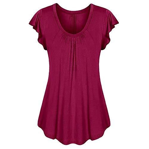 LOPILY Sommer T-Shirt Kurzarmshirt Damen Elegante Übergröße Kurzarm Gekräuselte Geraffte Shirts Blusen Tops Sommer Lässige Unregelmäßiger Saum Falten Bluse Oberteil(Weinrot,5XL) -