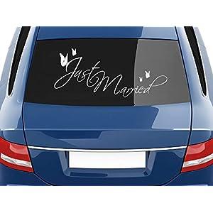 INDIGOS UG Magnetschild just married 30 x 8 cm Magnetfolie f/ür Auto//LKW//Truck//Baustelle//Firma