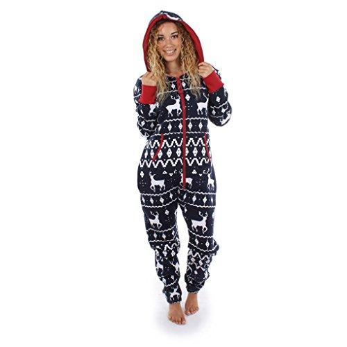 Elecenty Damen 3D Drucken Jumpsuit Pyjamas Schlafanzug Frauen Langarm Weihnachten Elch Bedruckt Overall Nachtwäsche Winter warm lang mit Kapuze Hosenanzug Anzug Sleepwear Overall (L, (Hoodie Batman Erwachsene)