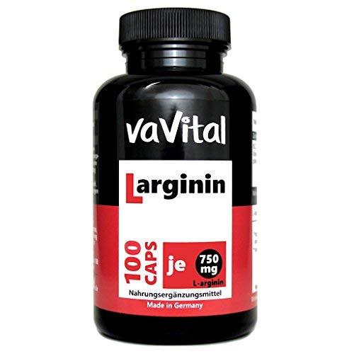 L-ARGININ 750mg je Kapsel | 100 Kapseln | 100{cf9a3f0855826fd20ff9b3149866ea64e4a455657ee337747f9bd6bffadca3df} Vegan | hergestellt in Deutschland | Premium Produkt - vaVital